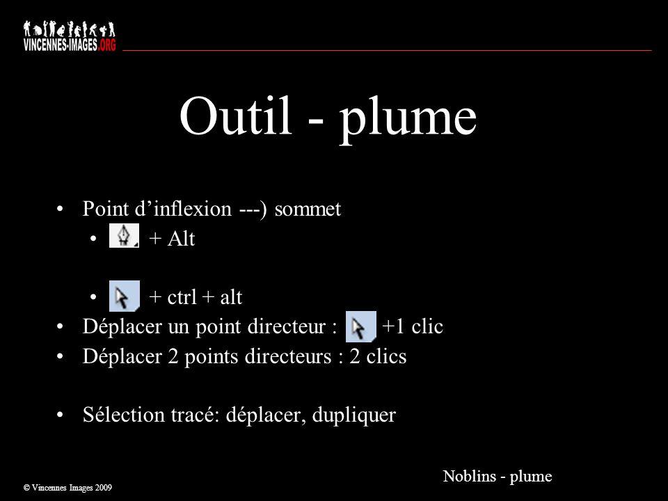 Outil - plume Point dinflexion ---) sommet + Alt + ctrl + alt Déplacer un point directeur : +1 clic Déplacer 2 points directeurs : 2 clics Sélection t