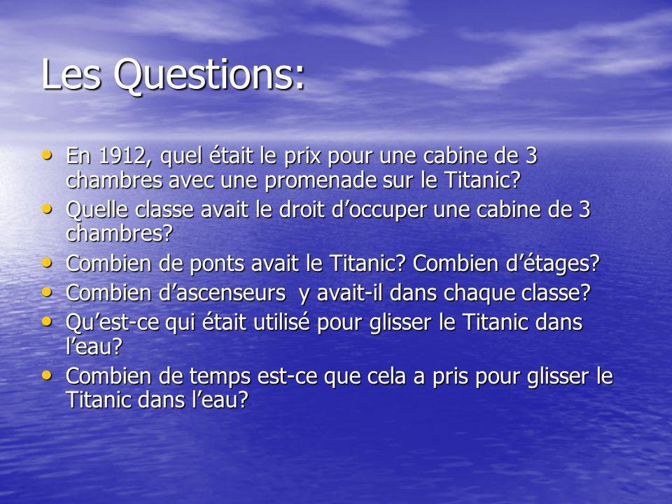 Les Questions (cont.) Quels items, incluant la nourriture, ont été pris durant le premier voyage du Titanic.