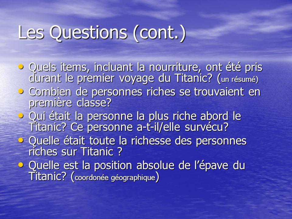 Les Questions (continuer encore) Quelle date Titanic est-il descendu.