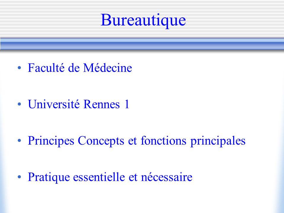 Bureautique Faculté de Médecine Université Rennes 1 Principes Concepts et fonctions principales Pratique essentielle et nécessaire