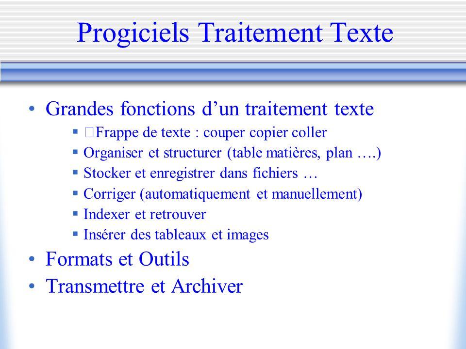 Progiciels Traitement Texte Grandes fonctions dun traitement texte Frappe de texte : couper copier coller Organiser et structurer (table matières, pla