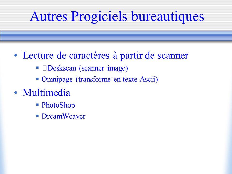 Autres Progiciels bureautiques Lecture de caractères à partir de scanner Deskscan (scanner image) Omnipage (transforme en texte Ascii) Multimedia Phot