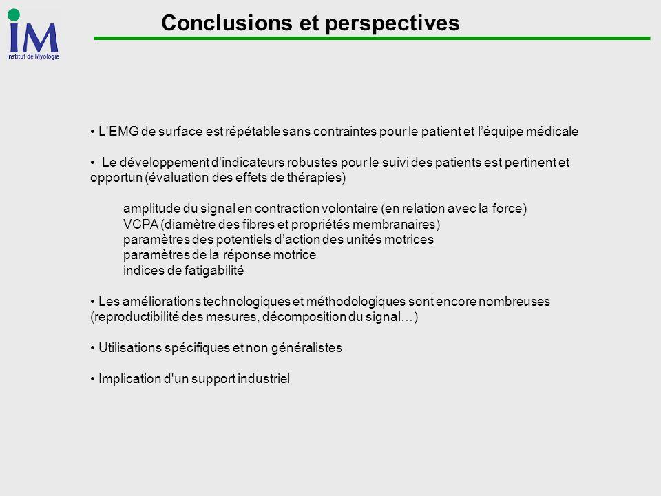 Conclusions et perspectives L'EMG de surface est répétable sans contraintes pour le patient et léquipe médicale Le développement dindicateurs robustes