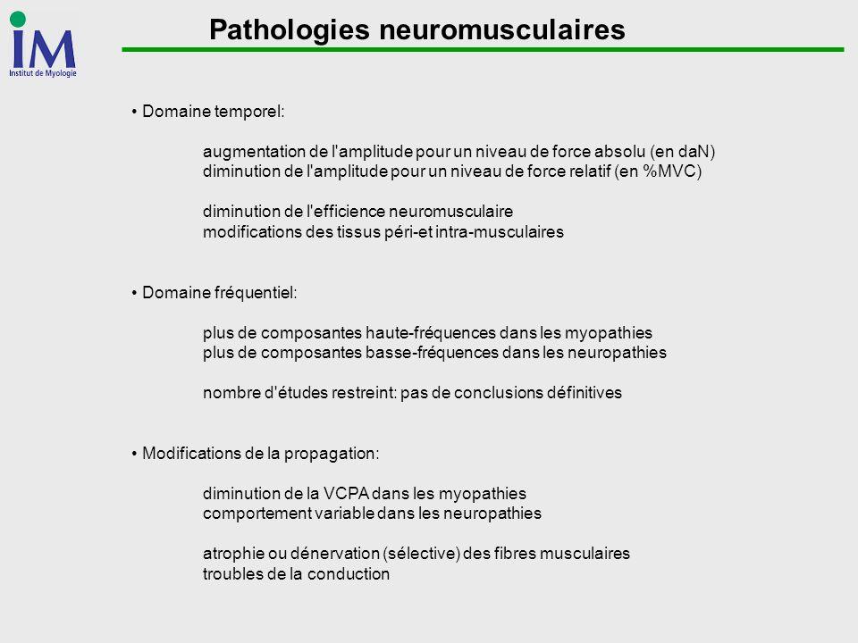 Pathologies neuromusculaires Domaine temporel: augmentation de l'amplitude pour un niveau de force absolu (en daN) diminution de l'amplitude pour un n