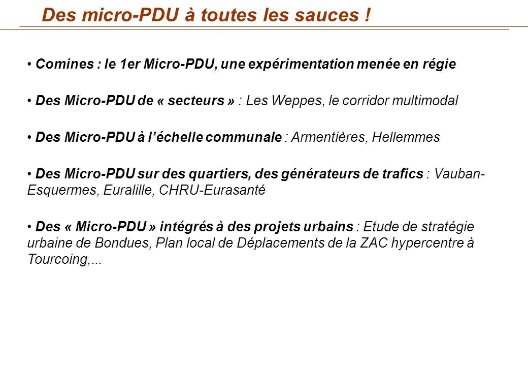 Comines : le 1er Micro-PDU, une expérimentation menée en régie Des Micro-PDU de « secteurs » : Les Weppes, le corridor multimodal Des Micro-PDU à léch
