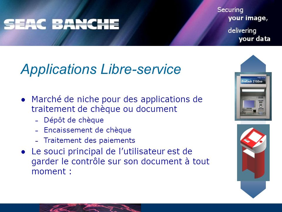 Applications Libre-service Marché de niche pour des applications de traitement de chèque ou document – Dépôt de chèque – Encaissement de chèque – Trai