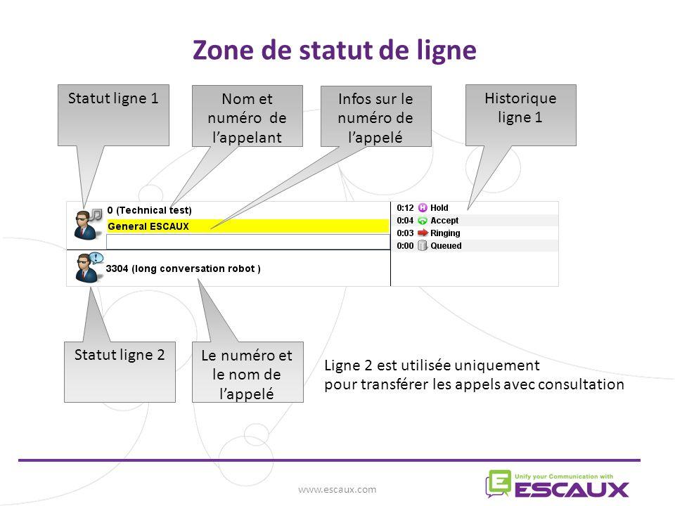 www.escaux.com Zone de statut de ligne Statut ligne 1 Nom et numéro de lappelant Infos sur le numéro de lappelé Historique ligne 1 Statut ligne 2 Le numéro et le nom de lappelé Ligne 2 est utilisée uniquement pour transférer les appels avec consultation