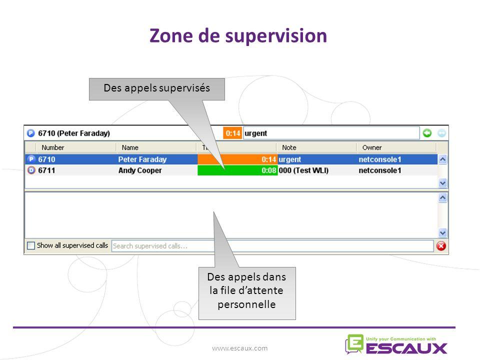 www.escaux.com Zone de supervision Des appels dans la file dattente personnelle Des appels supervisés