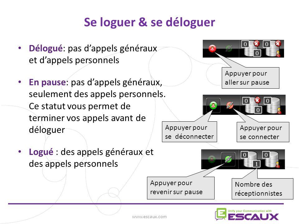www.escaux.com Réceptionniste(s) Montrer le statut de vos collègues Champ des statuts Glisser & déposer ou clic droit sur len-tête des colonnes