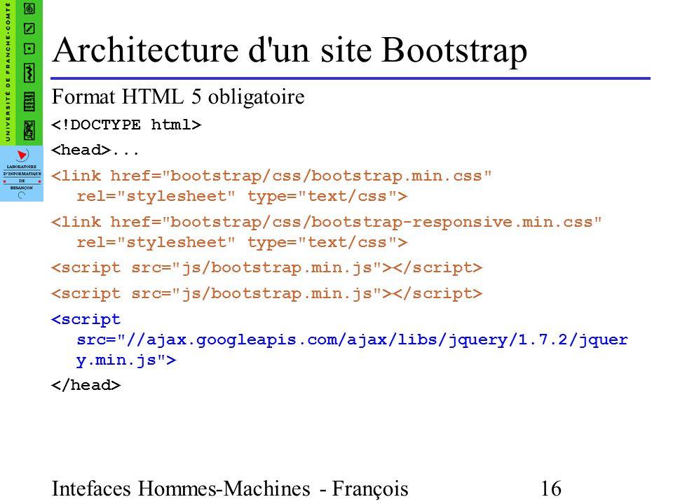 Intefaces Hommes-Machines - François Bonneville 16 Architecture d un site Bootstrap Format HTML 5 obligatoire...