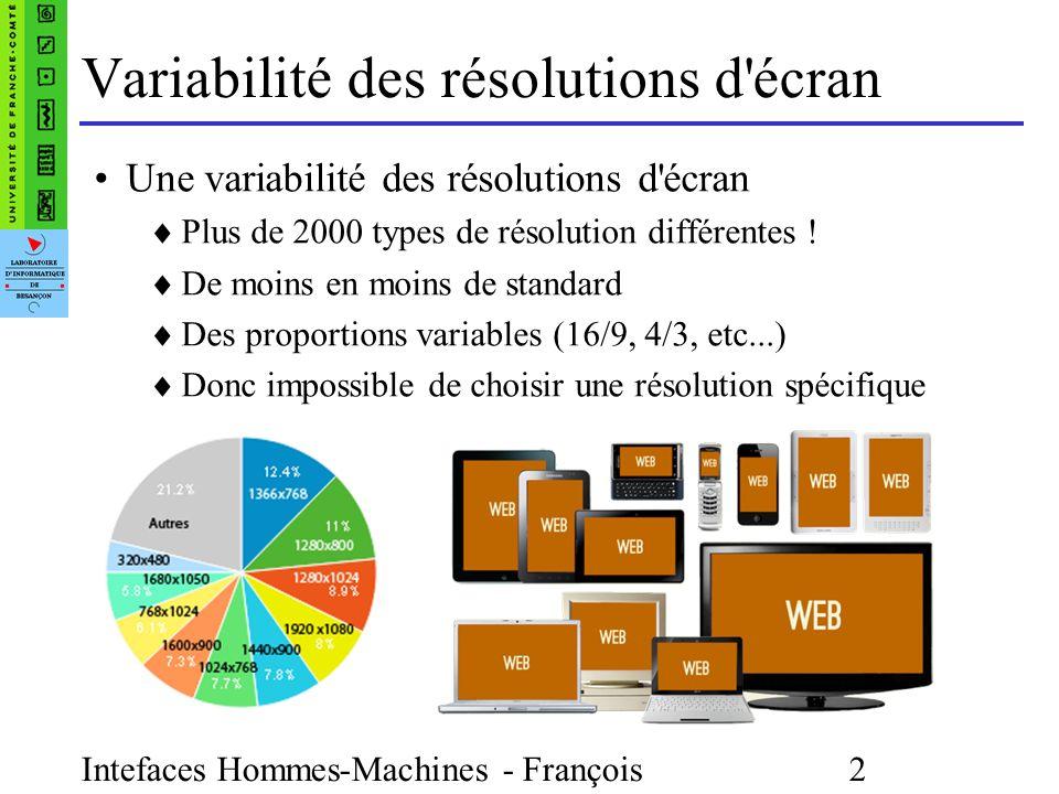 Intefaces Hommes-Machines - François Bonneville 2 Variabilité des résolutions d écran Une variabilité des résolutions d écran Plus de 2000 types de résolution différentes .