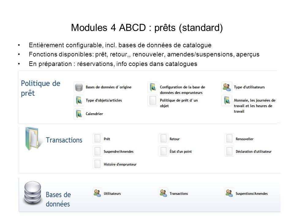 Modules 4 ABCD : prêts (standard) Entièrement configurable, incl. bases de données de catalogue Fonctions disponibles: prêt, retour,, renouveler, amen