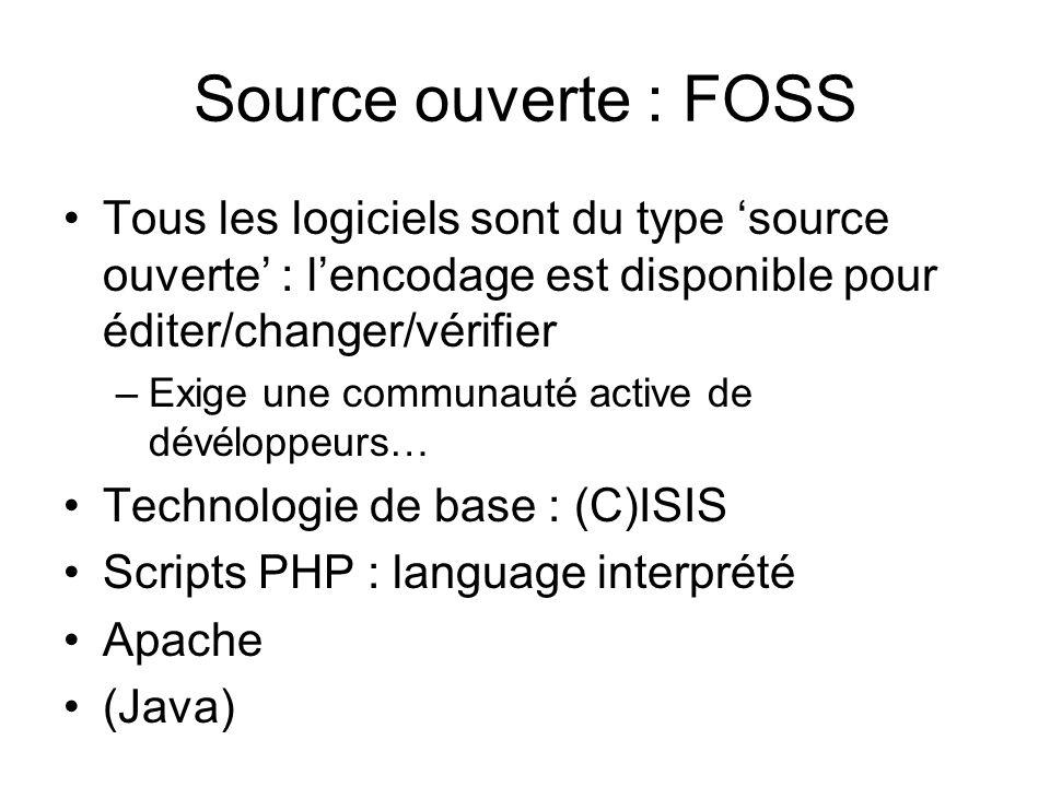 Source ouverte : FOSS Tous les logiciels sont du type source ouverte : lencodage est disponible pour éditer/changer/vérifier –Exige une communauté act