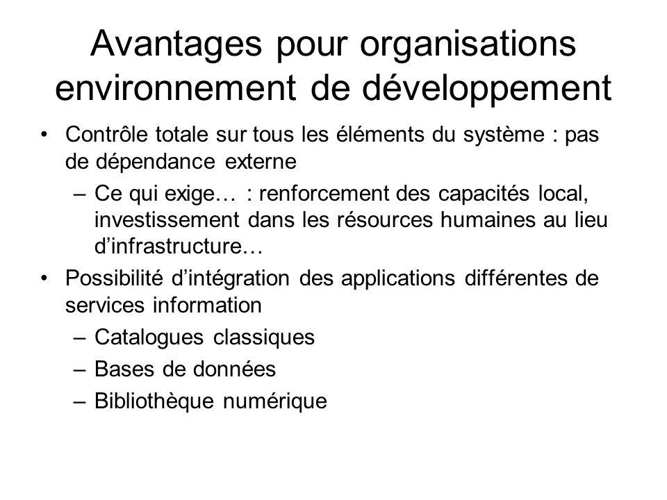 Avantages pour organisations environnement de développement Contrôle totale sur tous les éléments du système : pas de dépendance externe –Ce qui exige