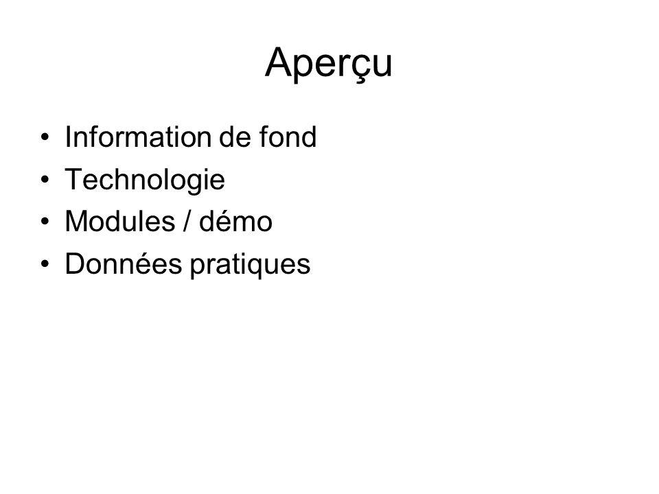 Aperçu Information de fond Technologie Modules / démo Données pratiques