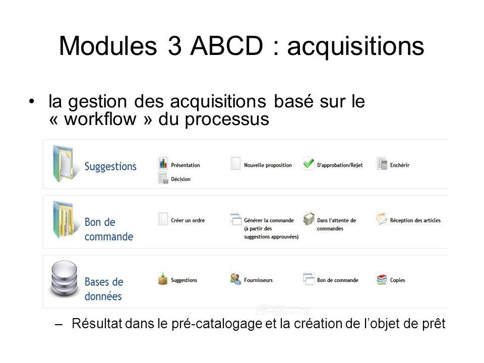 Modules 3 ABCD : acquisitions la gestion des acquisitions basé sur le « workflow » du processus –Résultat dans le pré-catalogage et la création de lob