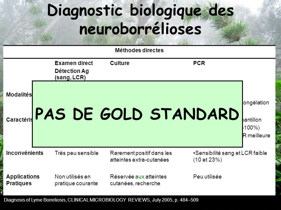 Méthodes directes Examen direct Détection Ag (sang, LCR) CulturePCR ModalitésSur sang, LCR, biopsie cutanéeSur sang, LCR,… Analyse rapide ou congélati