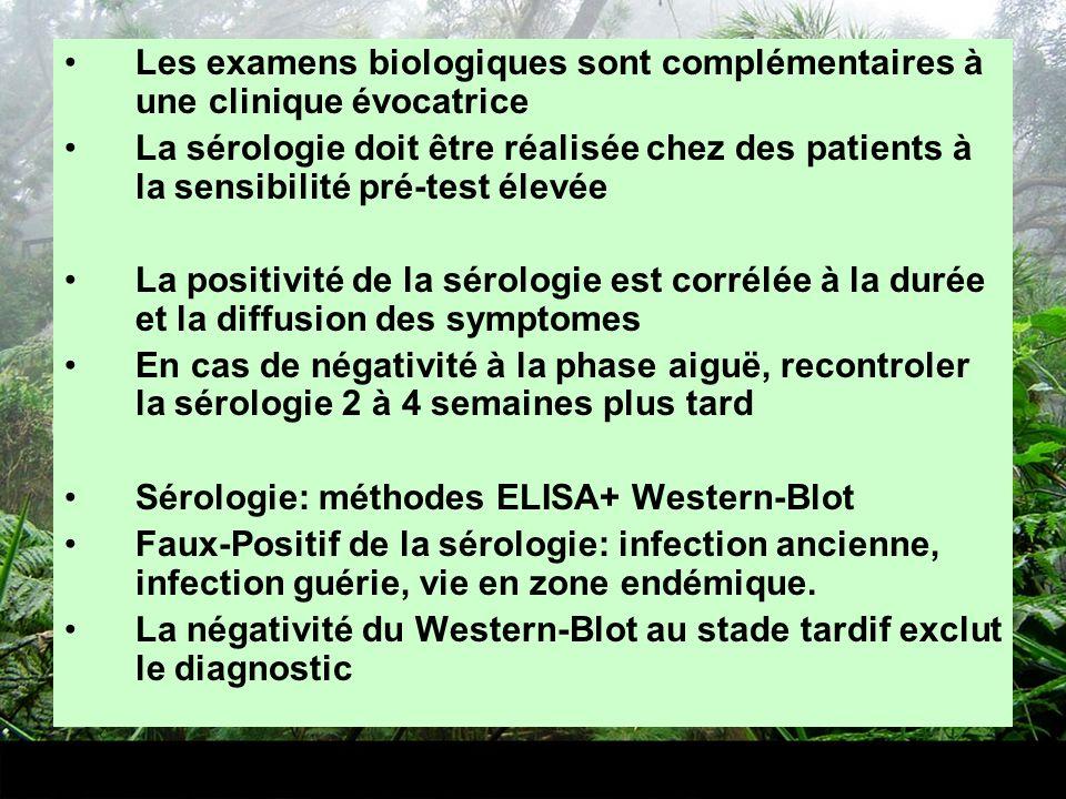 Les examens biologiques sont complémentaires à une clinique évocatrice La sérologie doit être réalisée chez des patients à la sensibilité pré-test éle