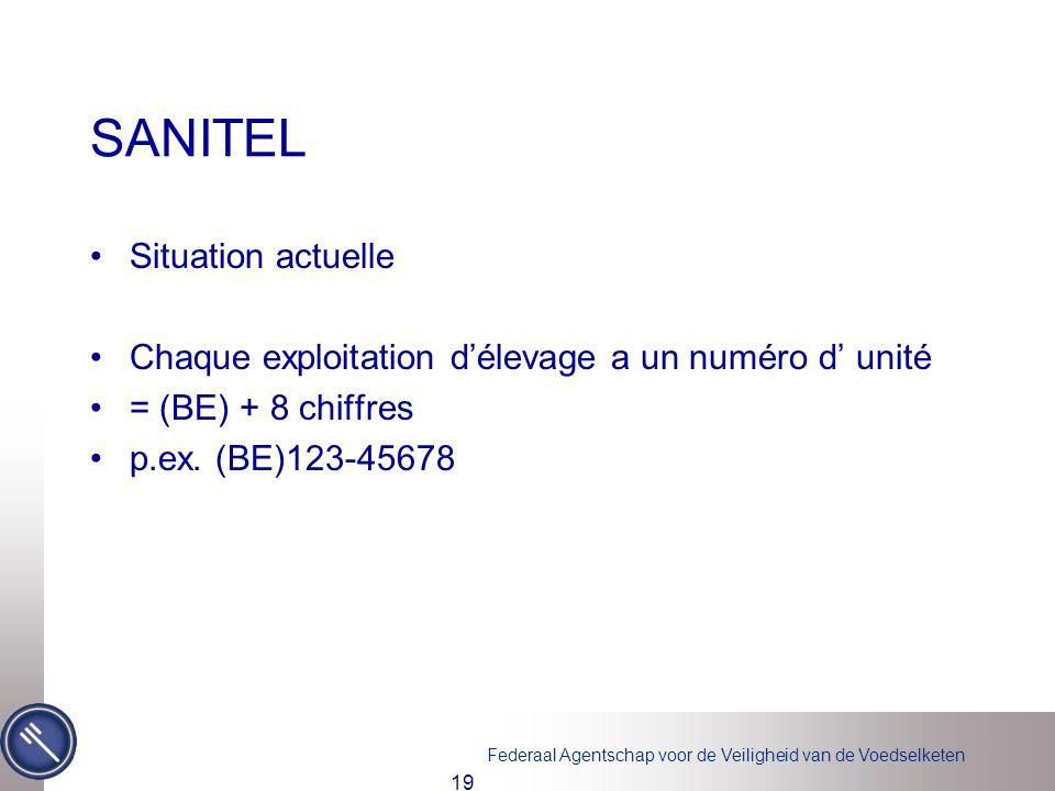 Federaal Agentschap voor de Veiligheid van de Voedselketen 19 SANITEL Situation actuelle Chaque exploitation délevage a un numéro d unité = (BE) + 8 c