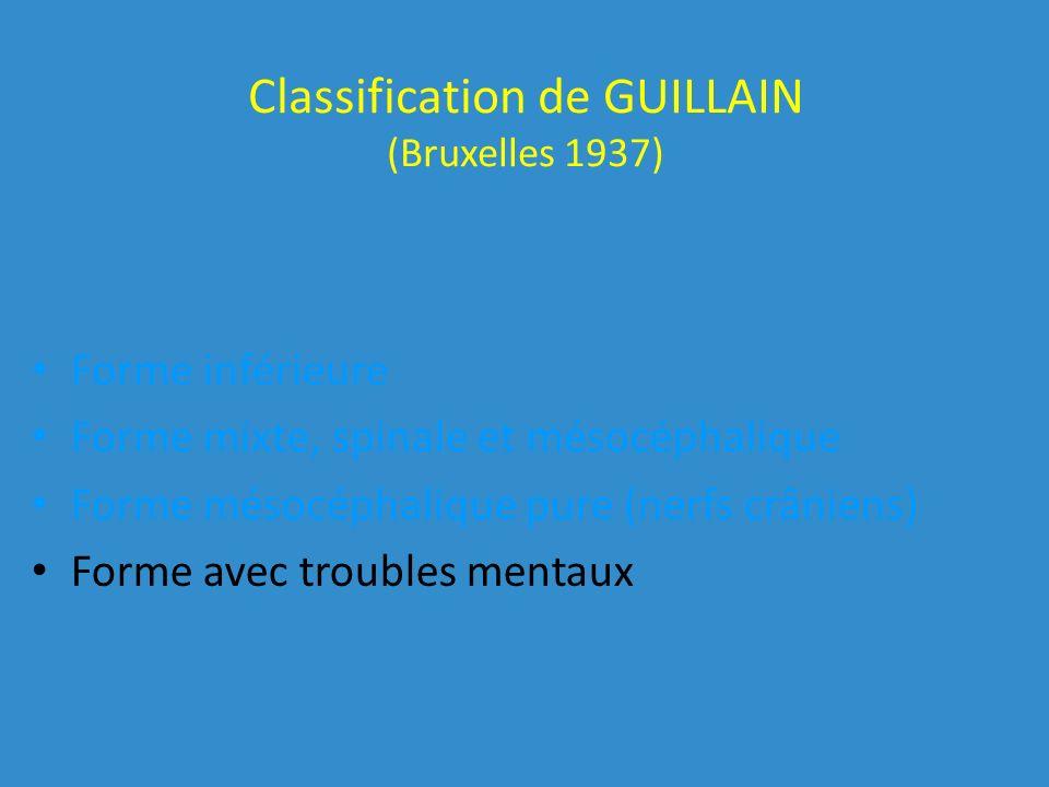 Classification de GUILLAIN (Bruxelles 1937) Forme inférieure Forme mixte, spinale et mésocéphalique Forme mésocéphalique pure (nerfs crâniens) Forme avec troubles mentaux