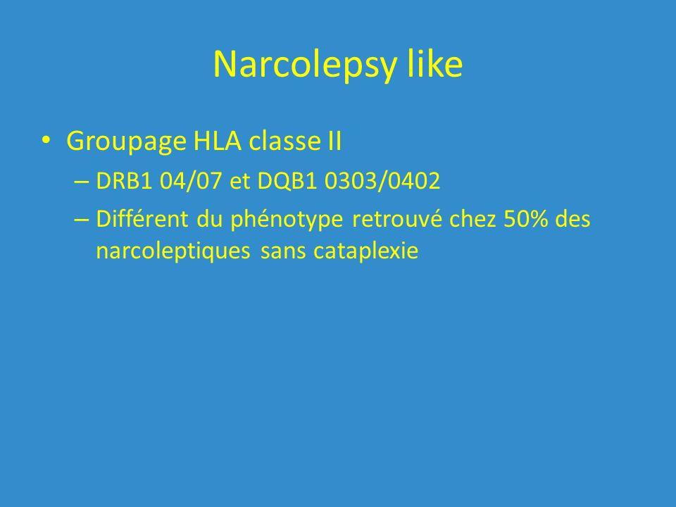 Narcolepsy like Groupage HLA classe II – DRB1 04/07 et DQB1 0303/0402 – Différent du phénotype retrouvé chez 50% des narcoleptiques sans cataplexie