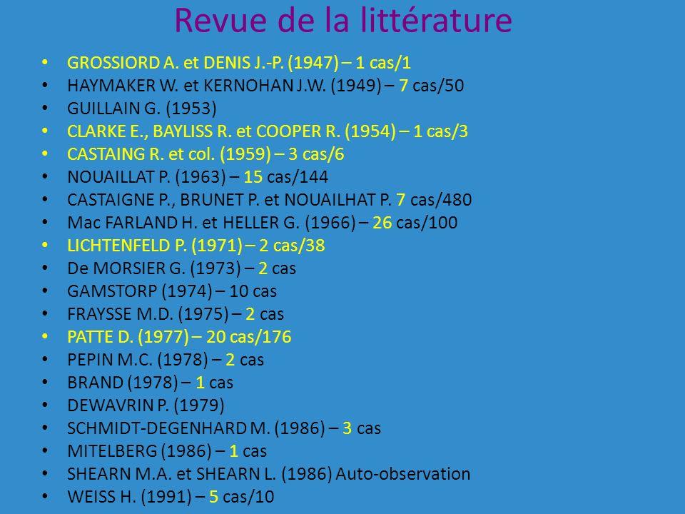 Revue de la littérature GROSSIORD A.et DENIS J.-P.