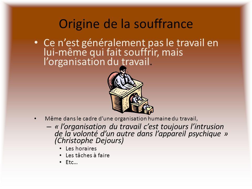 Origine de la souffrance Ce nest généralement pas le travail en lui-même qui fait souffrir, mais lorganisation du travail. Même dans le cadre dune org