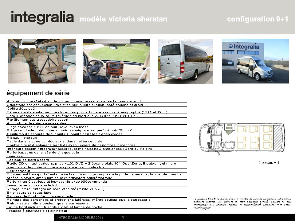1 La présente fiche fiche d´équipement du modèle de véhicule est jointe à l´offre à titre purement illustratif. Elle provient de notre catalogue génér