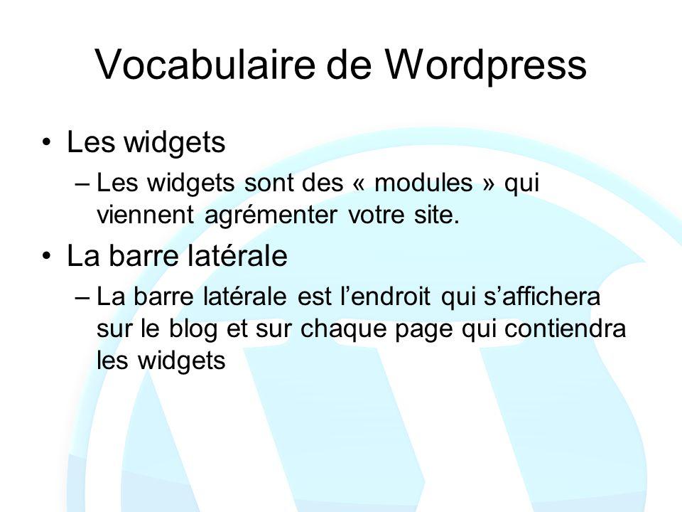 Vocabulaire de Wordpress Les widgets –Les widgets sont des « modules » qui viennent agrémenter votre site. La barre latérale –La barre latérale est le