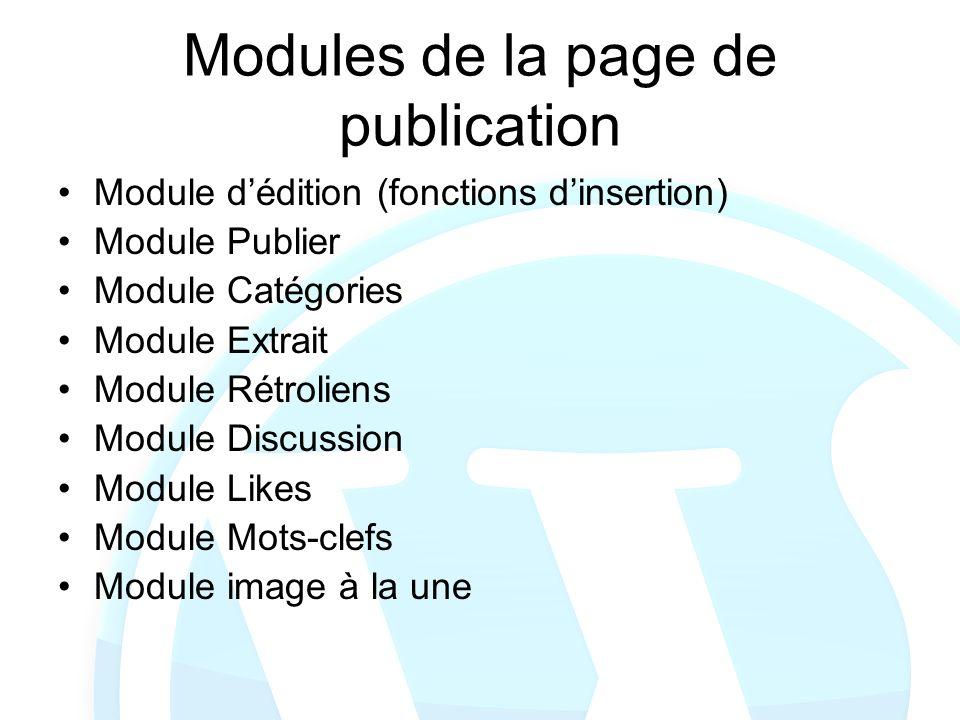 Modules de la page de publication Module dédition (fonctions dinsertion) Module Publier Module Catégories Module Extrait Module Rétroliens Module Disc