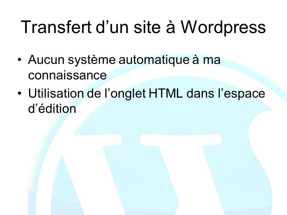 Transfert dun site à Wordpress Aucun système automatique à ma connaissance Utilisation de longlet HTML dans lespace dédition