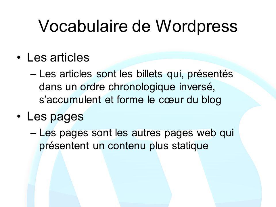 Vocabulaire de Wordpress Les articles –Les articles sont les billets qui, présentés dans un ordre chronologique inversé, saccumulent et forme le cœur