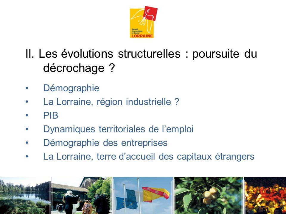 II. Les évolutions structurelles : poursuite du décrochage ? Démographie La Lorraine, région industrielle ? PIB Dynamiques territoriales de lemploi Dé