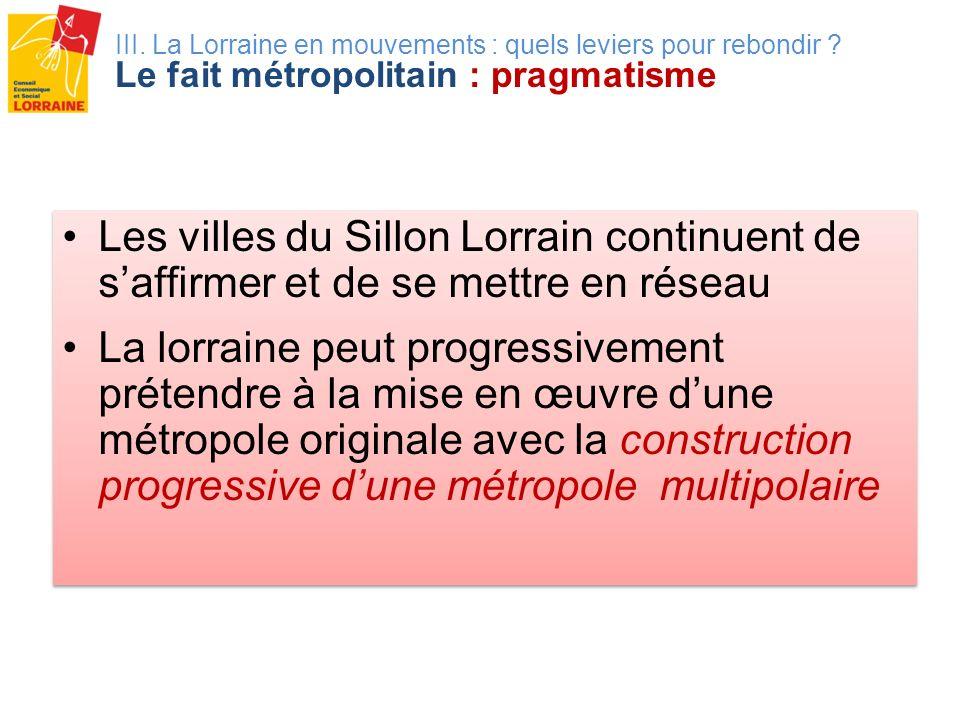 III. La Lorraine en mouvements : quels leviers pour rebondir ? Le fait métropolitain : pragmatisme Les villes du Sillon Lorrain continuent de saffirme