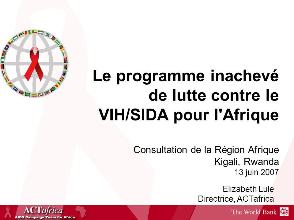 Épidémie mondiale du VIH, 1990-2005* Épidémie de VIH en Afrique sub- saharienne, 1985-2005* Nombre de personnes vivant avec le VIH % prévalence du VIH, adultes (15-49) % prévalence du VIH adultes (15-49) Nombre de personnes vivant avec le VIH (millions) 0 10 20 30 40 50 1990199520002005 0,0 1,0 2,0 3,0 4,0 5,0 19851990199520002005 0 5 10 15 20 25 30 0,0 2,5 5,0 7,5 12,5 15,0 % prévalence du VIH adultes (15 49) Nombre de personnes vivant avec le VIH (millions) Statut de lépidémie du SIDA Cette barre indique lécart de variation de lestimation 10.0 Source:ONUSIDA, 2006