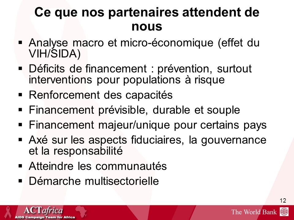 12 Ce que nos partenaires attendent de nous Analyse macro et micro-économique (effet du VIH/SIDA) Déficits de financement : prévention, surtout interv