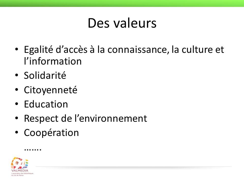 Des valeurs Egalité daccès à la connaissance, la culture et linformation Solidarité Citoyenneté Education Respect de lenvironnement Coopération …….