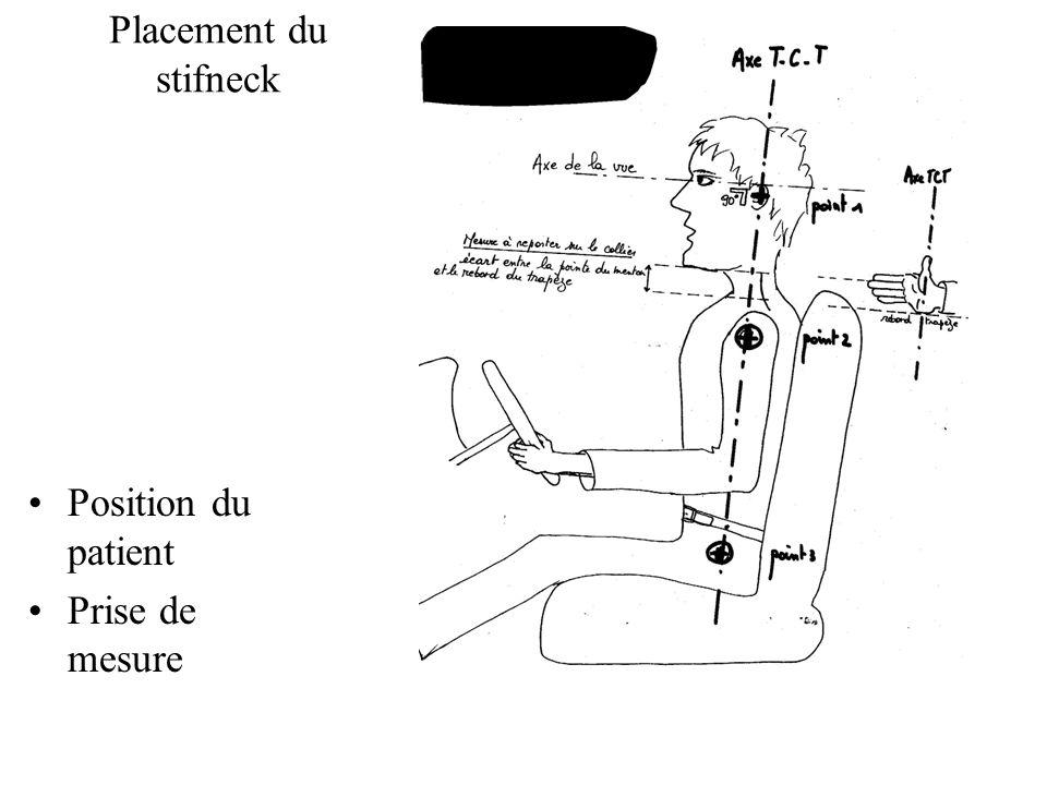 Placement du stifneck Position du patient Prise de mesure