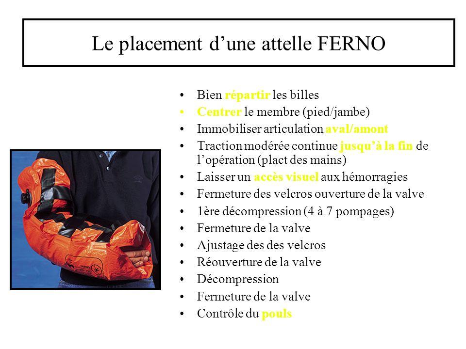 Le placement dune attelle FERNO Bien répartir les billes Centrer le membre (pied/jambe) Immobiliser articulation aval/amont Traction modérée continue