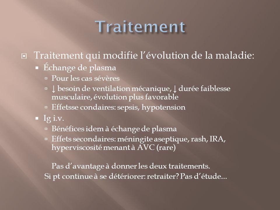 Traitement qui modifie lévolution de la maladie: Échange de plasma Pour les cas sévères besoin de ventilation mécanique, durée faiblesse musculaire, é
