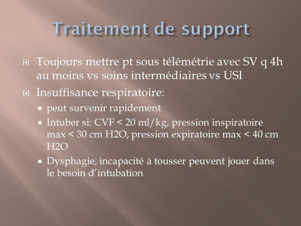 Toujours mettre pt sous télémétrie avec SV q 4h au moins vs soins intermédiaires vs USI Insuffisance respiratoire: peut survenir rapidement Intuber si