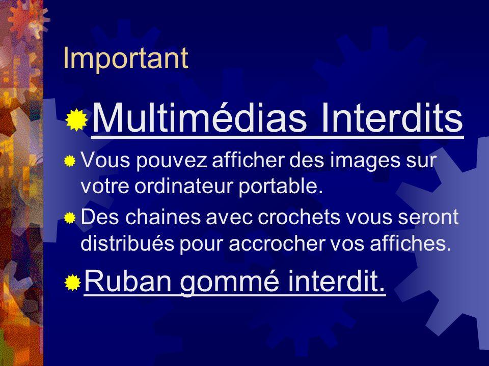 Important Multimédias Interdits Vous pouvez afficher des images sur votre ordinateur portable. Des chaines avec crochets vous seront distribués pour a