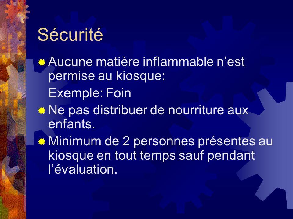 Sécurité Aucune matière inflammable nest permise au kiosque: Exemple: Foin Ne pas distribuer de nourriture aux enfants. Minimum de 2 personnes présent