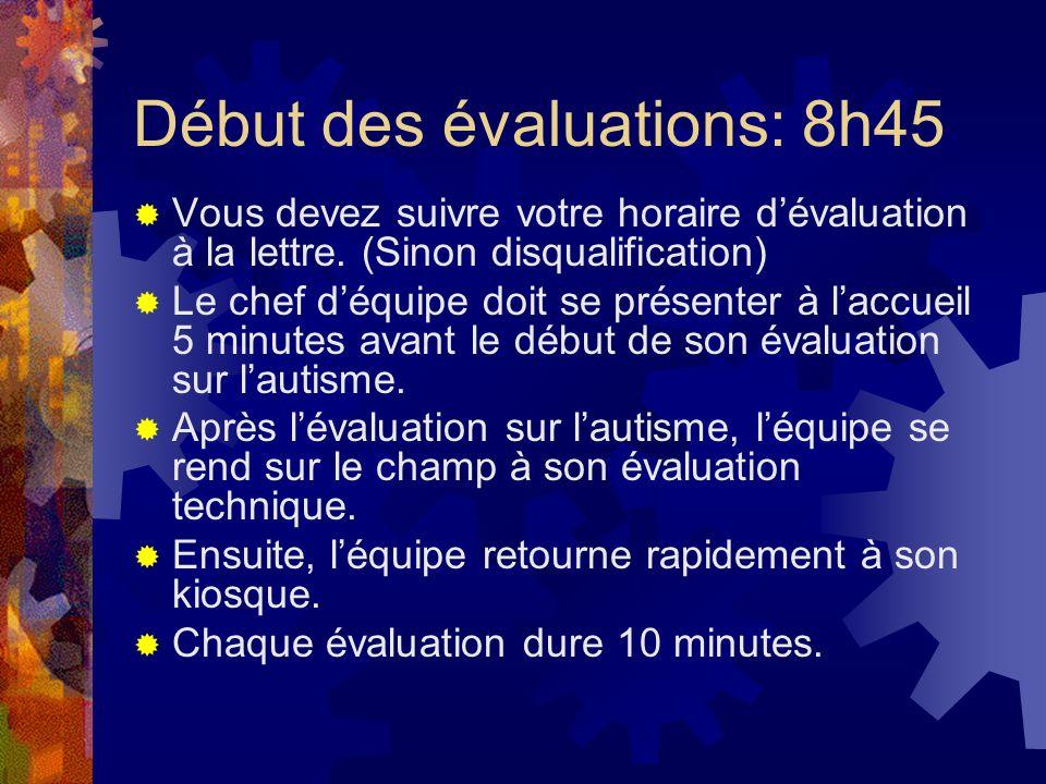 Début des évaluations: 8h45 Vous devez suivre votre horaire dévaluation à la lettre. (Sinon disqualification) Le chef déquipe doit se présenter à lacc