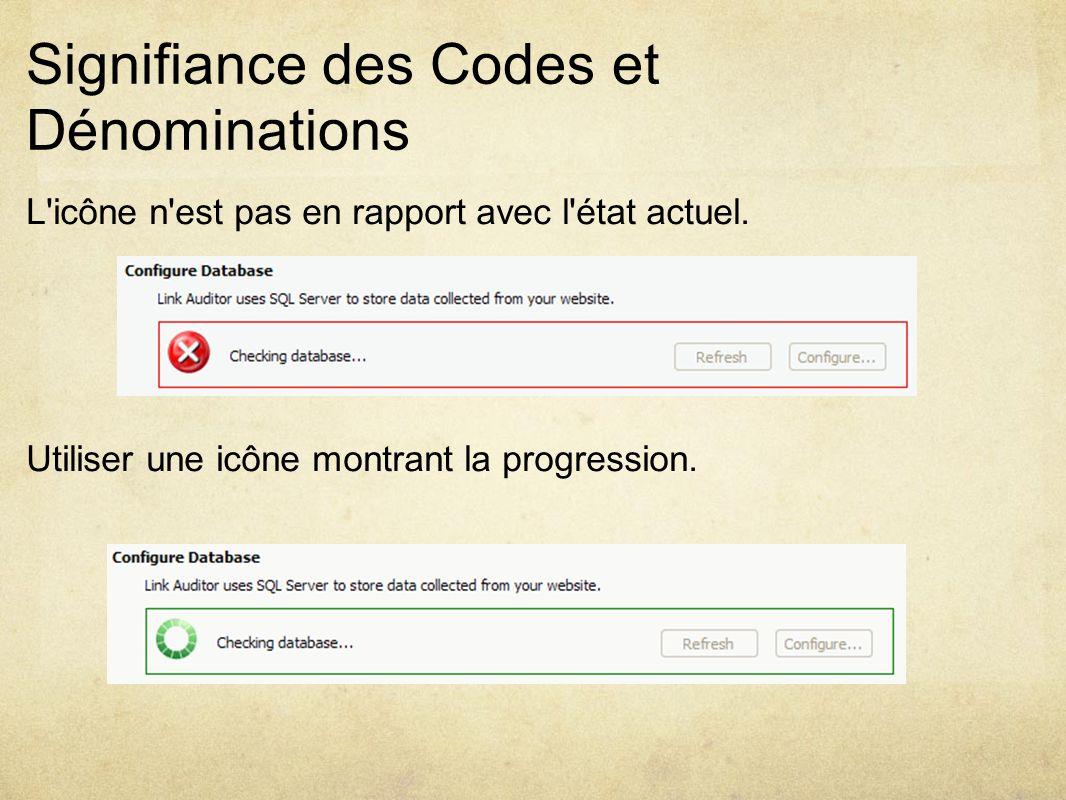 Signifiance des Codes et Dénominations L icône n est pas en rapport avec l état actuel.