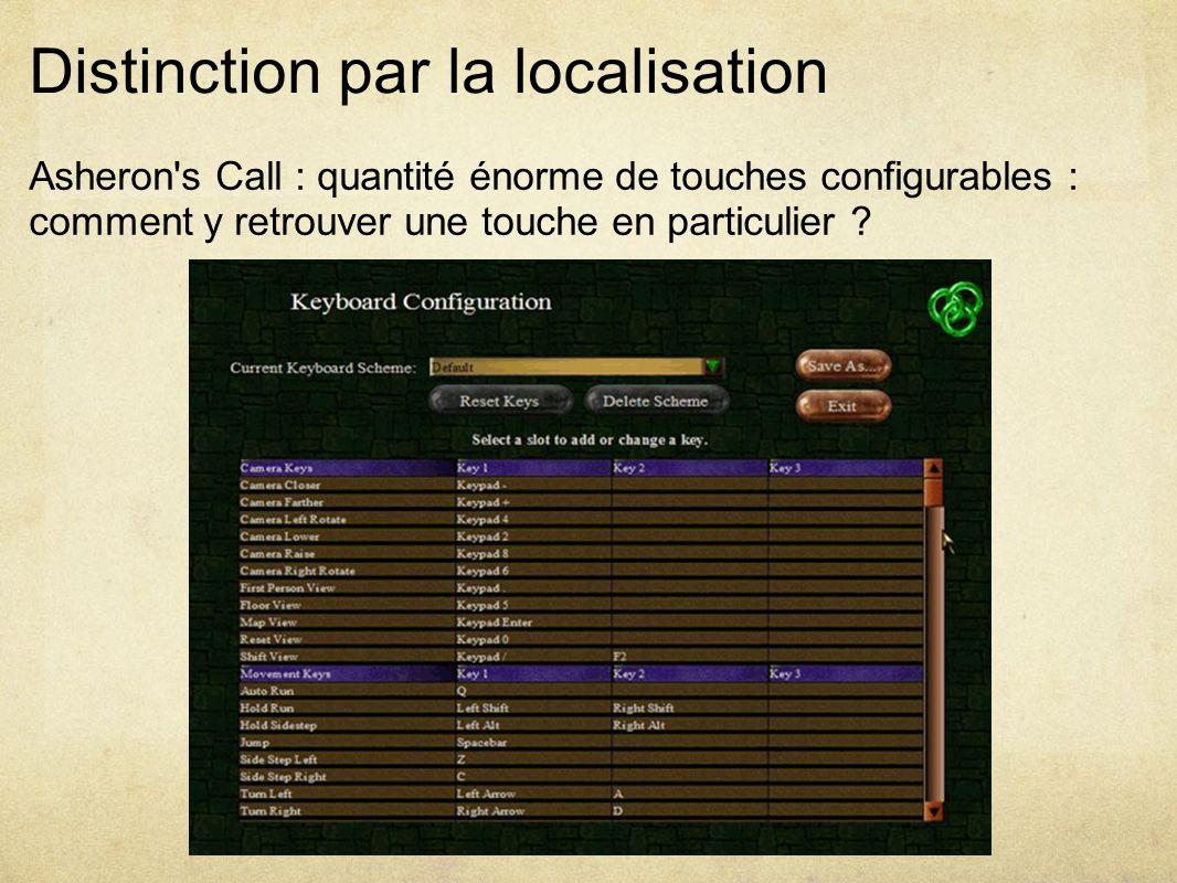 Distinction par la localisation Asheron s Call : quantité énorme de touches configurables : comment y retrouver une touche en particulier ?