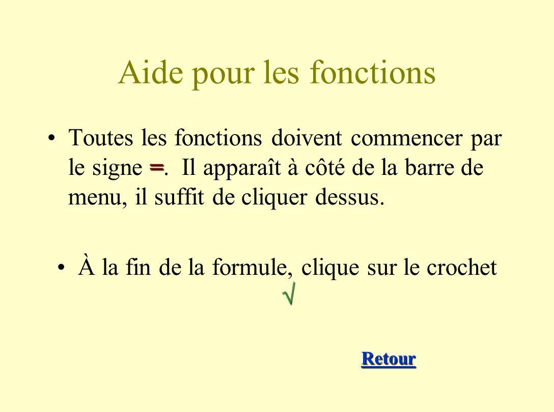 Aide pour les fonctions =Toutes les fonctions doivent commencer par le signe =.