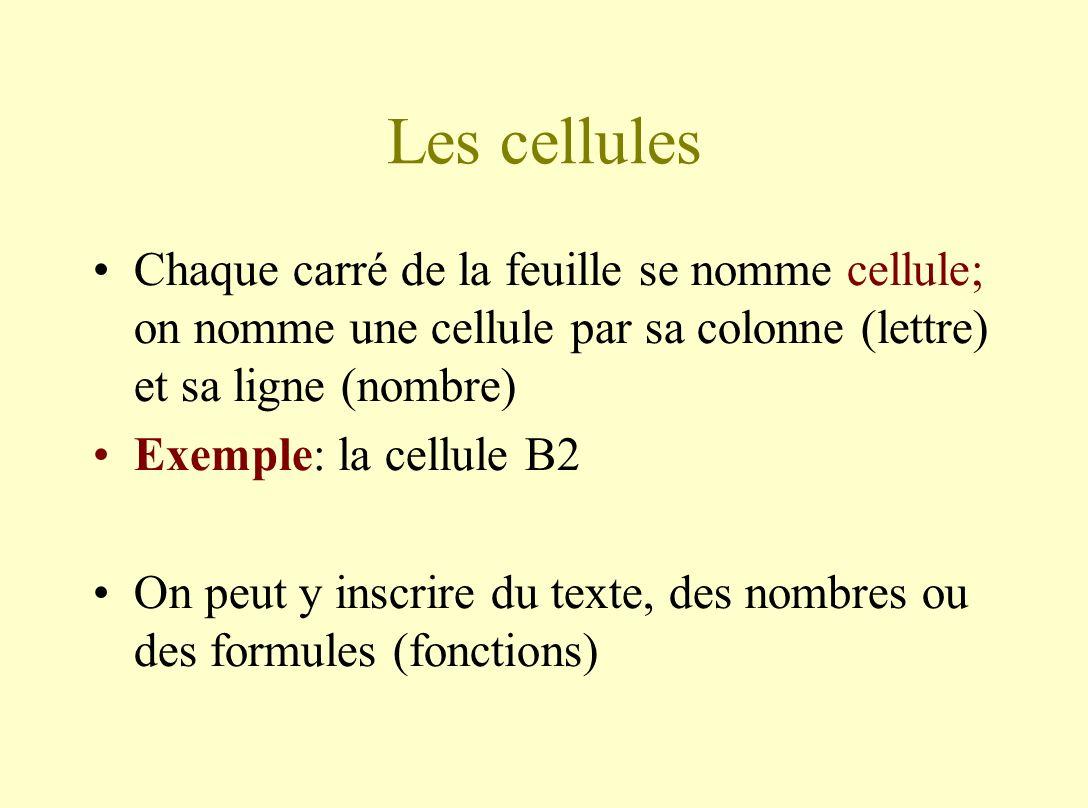 Les cellules Chaque carré de la feuille se nomme cellule; on nomme une cellule par sa colonne (lettre) et sa ligne (nombre) Exemple: la cellule B2 On peut y inscrire du texte, des nombres ou des formules (fonctions)