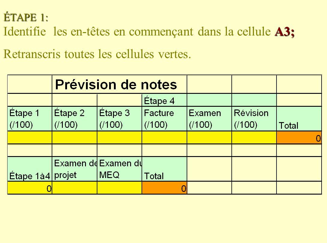 ÉTAPE 1: A3; ÉTAPE 1: Identifie les en-têtes en commençant dans la cellule A3; Retranscris toutes les cellules vertes.