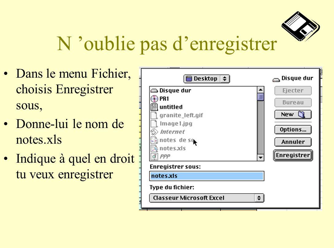 N oublie pas denregistrer Dans le menu Fichier, choisis Enregistrer sous, Donne-lui le nom de notes.xls Indique à quel en droit tu veux enregistrer